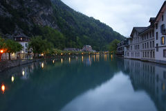 Switzerland, Interlaken. Evening view of a small r Royalty Free Stock Photography