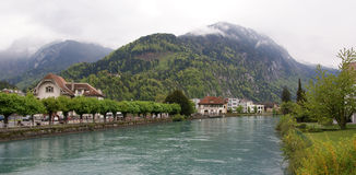 Switzerland, Interlaken. view of a small river Royalty Free Stock Photo