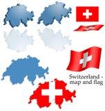 Switzerland - jogo do mapa e da bandeira Imagens de Stock Royalty Free