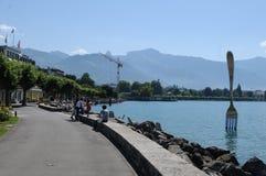 Switzerland: The lake-promenade of Vevey-City at Lake Geneva stock photos