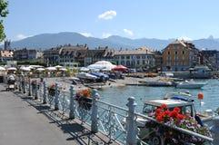 Switzerland: The lake-promenade of Vevey-City at Lake Geneva royalty free stock image
