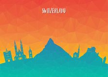 Switzerland Landmark Global Travel And Journey paper background. Vector Design Template.used for your advertisement, book, banner, template, travel business or Stock Photo
