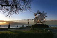 Switzerland: Lausanne-Ouchy at lake Geneva at sunset royalty free stock images