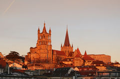 Switzerland. Lausanne. View of the Gothic cathedral, sunset. Royalty Free Stock Image