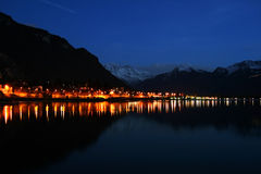 Switzerland from Leman. The View Seen from the back of Chillon Casle, Night Time Stock Photo