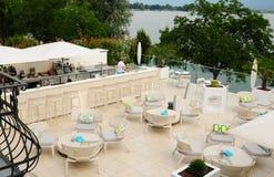 Switzerland: The lounge of the hotel Giardino in Minusio at Lake stock photo