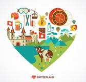 Switzerland love - heart with vector icons Royalty Free Stock Photography