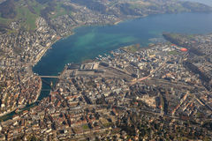 Switzerland Lucerne main station Luzern City lake aerial view ph Royalty Free Stock Photo