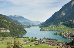 Switzerland. Lungern village in the valley. Stock Photos