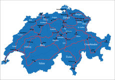 Switzerland map. Highly detailed map of Switzerland,with main administrative regions,cities and roads Royalty Free Stock Photography