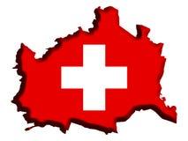 Switzerland Map. Switzerland covered in swiss flag vector illustration