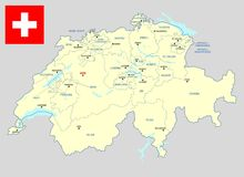 Switzerland map - cdr format. Switzerland map with cantons main cities and flag stock illustration