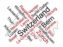 Switzerland map and cities. Switzerland map and words cloud with larger cities stock illustration