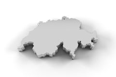 Switzerland map 3D in silver and including clipping path Royalty Free Stock Photo