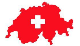 Switzerland map and flag Stock Photography
