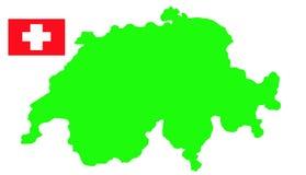 Switzerland map and flag Royalty Free Stock Photo