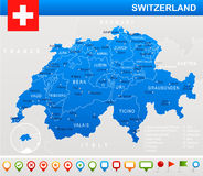 Switzerland - map and flag - illustration royalty free illustration