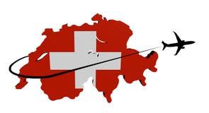 Switzerland map flag with plane and swoosh illustration Stock Photography