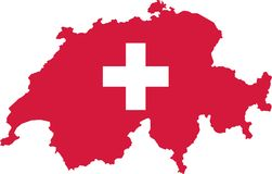 Switzerland map with flag Stock Photos