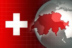 Switzerland Map and Flag on a world globe background Stock Image