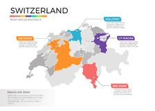 Switzerland map infographics vector template with regions and pointer marks stock illustration