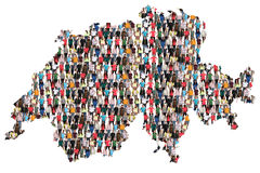 Switzerland map multicultural group of people integration immigration diversity. Isolated stock photos