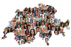 Switzerland map multicultural group of young people integration. Diversity isolated stock image