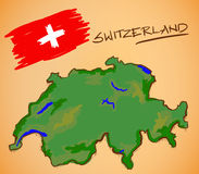 Switzerland Map and National Flag Vector Stock Photos