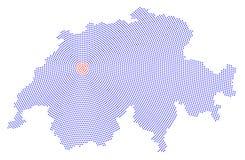 Switzerland map radial dot pattern Stock Image