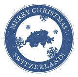 Switzerland map. Vintage Merry Christmas. Switzerland map. Vintage Merry Christmas Switzerland Stamp. Stylised rubber stamp with county map and Merry Christmas Stock Photography