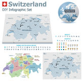Switzerland maps with markers Stock Photos