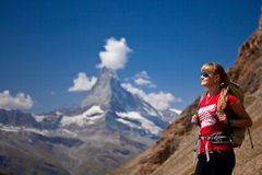 Switzerland - Matterhorn peack, hikers Royalty Free Stock Images