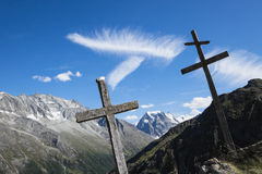 Switzerland, Mont collon, crosses. Against blue sky royalty free stock images