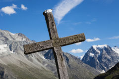 Switzerland, Mont collon, crosses. In the mountains with blue sky stock photos