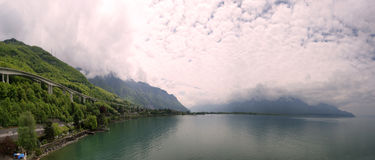 Switzerland, Montreux, panoramic view of Lake Gene Royalty Free Stock Photos