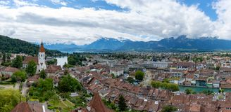Switzerland mountain and city view royalty free stock photos