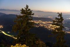 Switzerland mountain landscape panorama at sunset night stock photos