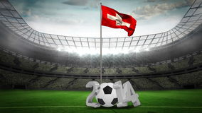 Switzerland national flag waving on flagpole with 2014 message stock footage