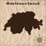 Switzerland old map with grunge and crumpled paper. Vector illustration Royalty Free Stock Image