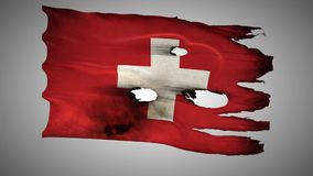 Switzerland, perforated, burned, grunge waving flag loop alpha stock footage