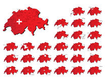Switzerland provinces maps Stock Image
