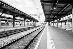 Switzerland railway station - HDR. Railyard in Geneve-Cornavin railway station, is the main railway station of the Canton of Geneva, seen passing 115, 000 Royalty Free Stock Photography