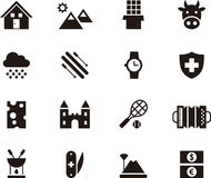 Switzerland related flat glyph icons Stock Images