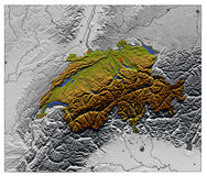 Switzerland, relief map. 3D Relief Map of Switzerland, seen from above Royalty Free Stock Image