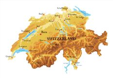 Switzerland relief map. Highly detailed physical map of Switzerland,in vector format,with all the relief forms,regions and big cities Royalty Free Stock Image