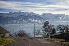 Switzerland's lake view near Thun with a view of Alps mountains Royalty Free Stock Photos