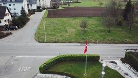 switzerland by Schweiziskt flaggaflyg längs vägen stock video