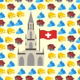 Switzerland seamless pattern of symbols of country. Banks and Al Royalty Free Stock Image