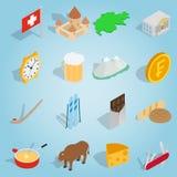 Switzerland set icons, isometric 3d style Stock Photos