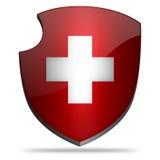Switzerland shield. Flag of Switzerland on shield Royalty Free Stock Images